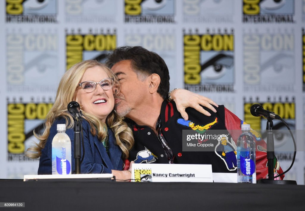 Actors Nancy Cartwright (L) and Joe Mantegna attend 'The Simpsons' panel during Comic-Con International 2017 at San Diego Convention Center on July 22, 2017 in San Diego, California.