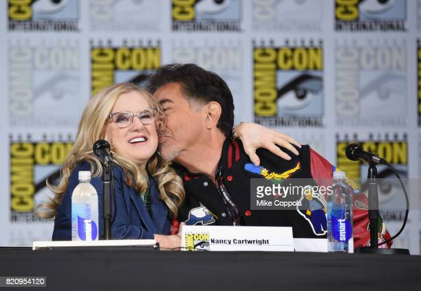 Actors Nancy Cartwright and Joe Mantegna attend 'The Simpsons' panel during ComicCon International 2017 at San Diego Convention Center on July 22...
