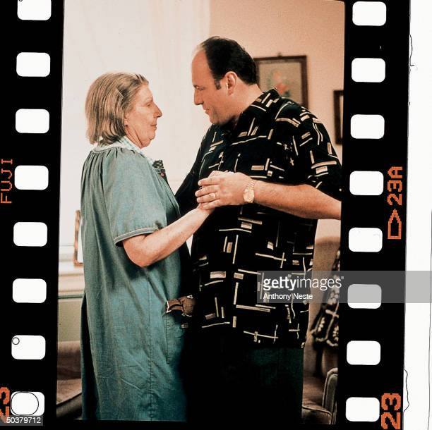 Actors Nancy Marchand and James Gandolfini in a scene from the HBO TV series The Sopranos