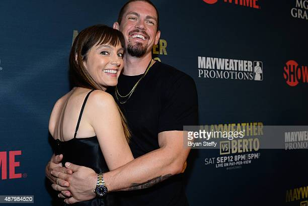 Actors Nancy Pimental and Steven Howey arrive at the VIP Pre-Fight Party for 'High Stakes: Mayweather v. Berto' presented by Showtime at MGM Grand...