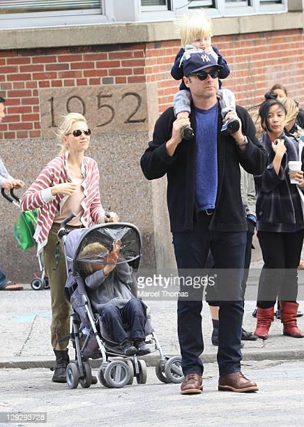 Actors Naomi Watts and Liev Schreiber are seen with their kids Alexander Schreiber and Samuel Schreiber on the streets of Manhattan on October 15...
