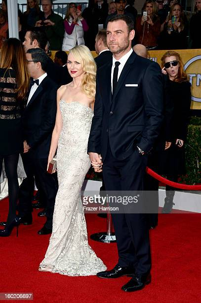 Actors Naomi Watts and Liev Schreiber arrive at the 19th Annual Screen Actors Guild Awards held at The Shrine Auditorium on January 27 2013 in Los...