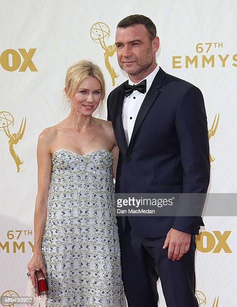Actors Naomi Watts and Liev Schreiber arrive at the 67th Annual Primetime Emmy Awards at the Microsoft Theater on September 20 2015 in Los Angeles...