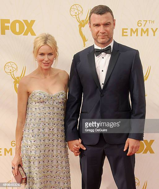 Actors Naomi Watts and Liev Schreiber arrive at the 67th Annual Primetime Emmy Awards at Microsoft Theater on September 20 2015 in Los Angeles...