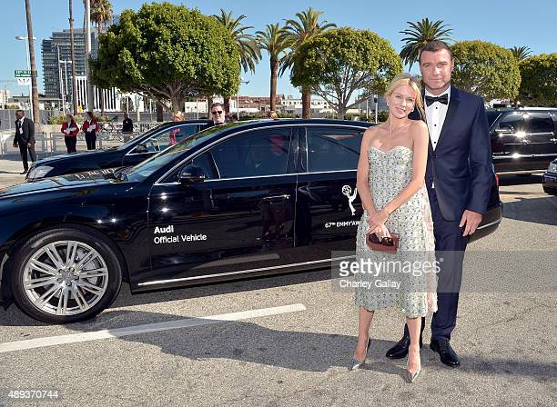 Actors Naomi Watts and Liev Schreiber arrive in an Audi A8 L TDI at the 67th Annual Primetime Emmy Awards at Microsoft Theater on September 20 2015...