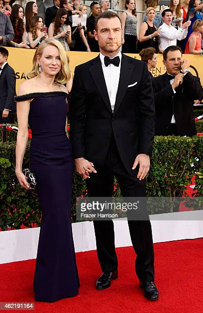 Actors Naomi Watts and Liev Schreiber attend the 21st Annual Screen Actors Guild Awards at The Shrine Auditorium on January 25 2015 in Los Angeles...