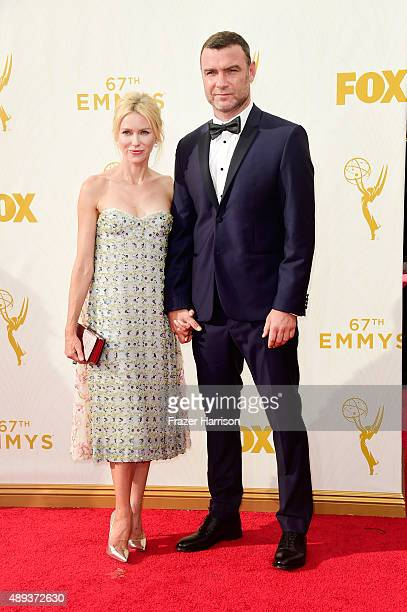 Actors Naomi Watts and Liev Schreiber attend the 67th Annual Primetime Emmy Awards at Microsoft Theater on September 20 2015 in Los Angeles California