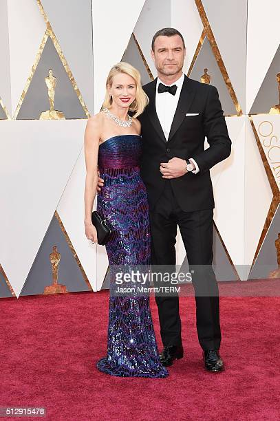Actors Naomi Watts and Liev Schreiber attend the 88th Annual Academy Awards at Hollywood Highland Center on February 28 2016 in Hollywood California
