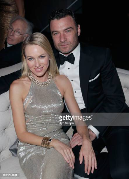Actors Naomi Watts and Liev Schreiber attend The Weinstein Company Netflix's 2014 Golden Globes After Party presented by Bombardier FIJI Water Lexus...