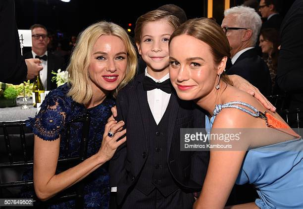 Actors Naomi Watts Jacob Tremblay and Brie Larson pose during The 22nd Annual Screen Actors Guild Awards at The Shrine Auditorium on January 30 2016...