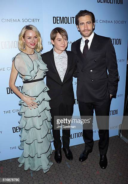 Actors Naomi Watts Judah Lewis and Jake Gyllenhaal attend the Fox Searchlight Pictures with The Cinema Society host a screening of Demolition at the...