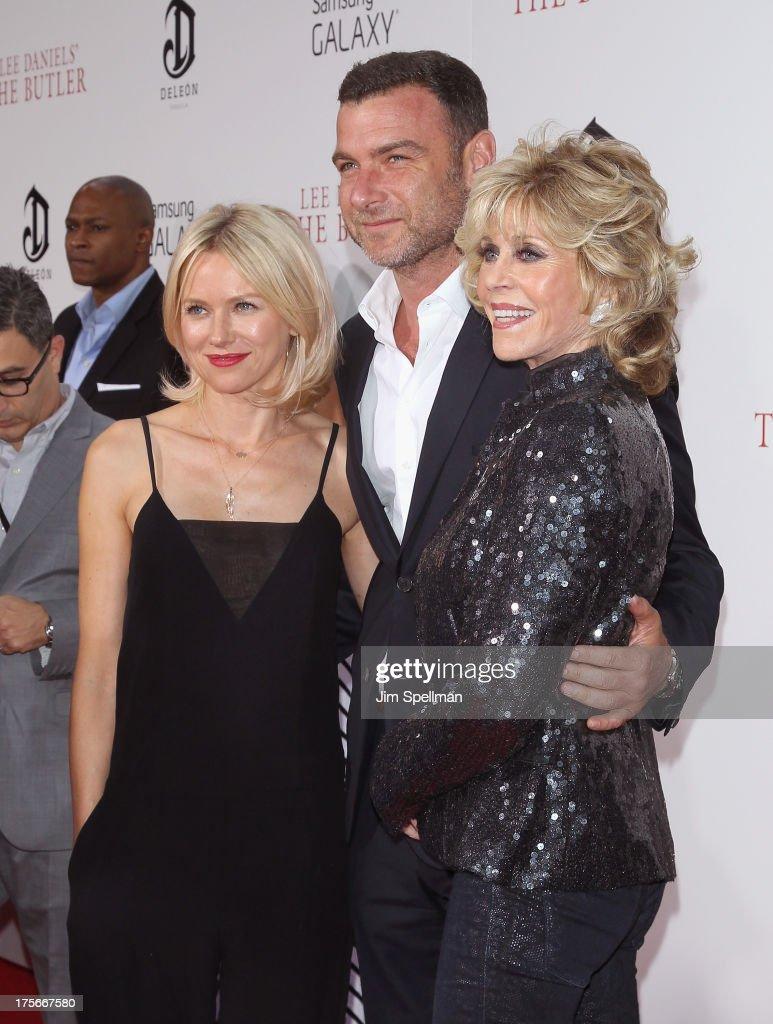 Actors Naomi Watts, Liev Schreiber and Jane Fonda attend Lee Daniels' 'The Butler' New York Premiere at Ziegfeld Theater on August 5, 2013 in New York City.