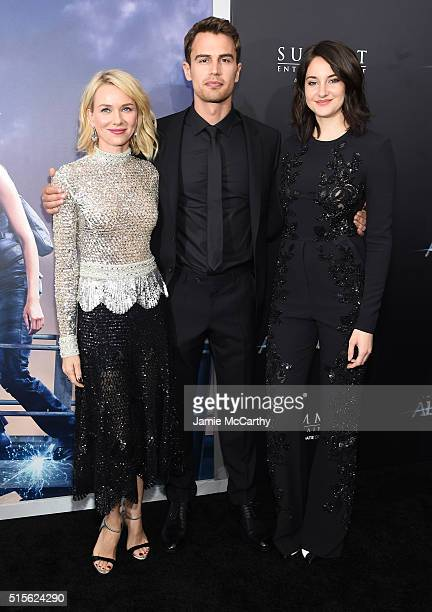 Actors Naomi Watts Theo James and Shailene Woodley attend the New York premiere of 'Allegiant' at the AMC Lincoln Square Theater on March 14 2016 in...