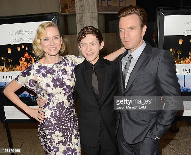 """Actors Naomi Watts, Tom Holland and Ewan McGregor attend the Los Angeles premiere of Summit Entertainment's """"The Impossible"""" at ArcLight Cinemas..."""