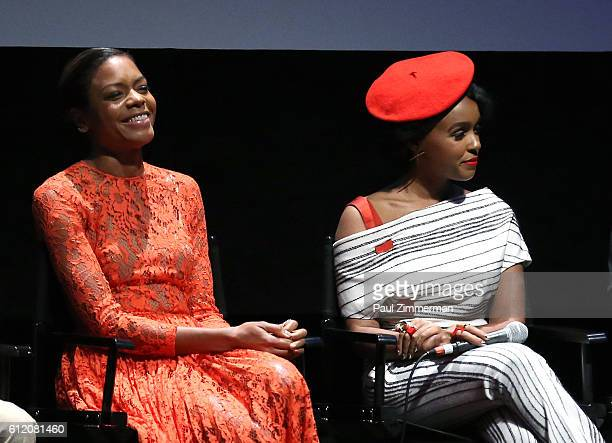 Actors Naomie Harris and Janelle Monae attend the 'Moonlight' Intro and Q&A during the 54th New York Film Festival at Alice Tully Hall, Lincoln...