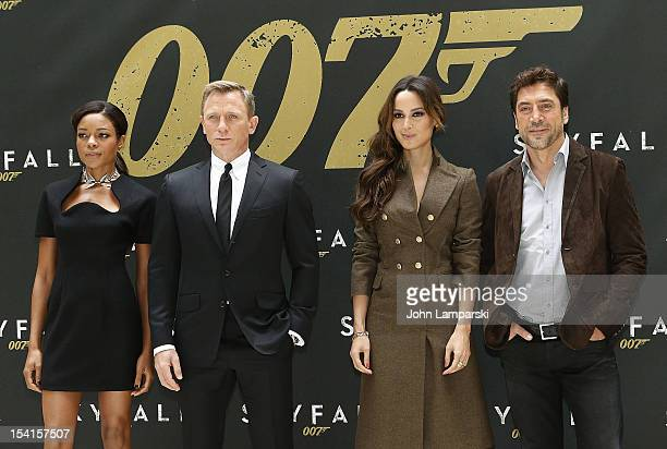 Actors Naomie Harris Daniel Craig Berenice Marlohe and Javier Bardem attend the Skyfall cast photo call at the Crosby Street Hotel on October 15 2012...
