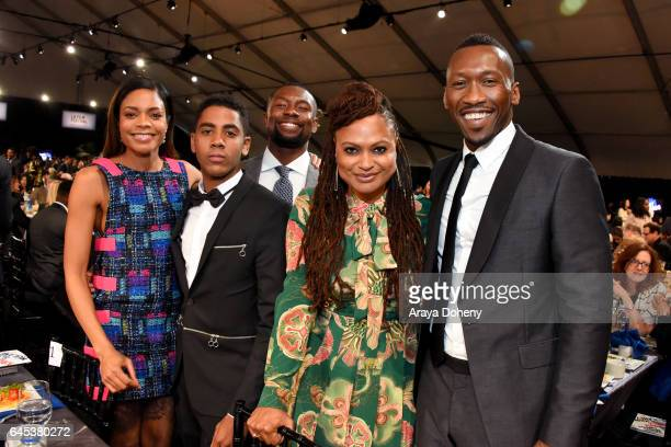 Actors Naomie Harris Jharrel Jerome Trevante Rhodes director Ava DuVernay and actor Mahershala Ali during the 2017 Film Independent Spirit Awards at...