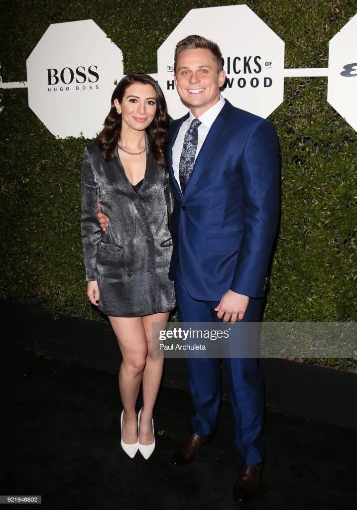 Actors Nasim Pedrad (L) and Billy Magnussen (R) attend Esquire's annual 'Maverick's Of Hollywood' event at Sunset Tower on February 20, 2018 in Los Angeles, California.