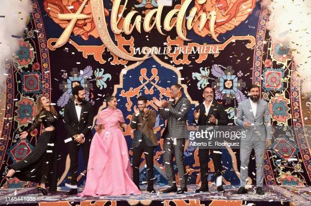 Actors Nasim Pedrad Marwan Kenzari Naomi Scott Mena Massoud Will Smith Navid Negahban and Numan Acar attend the World Premiere of Disney's Aladdin at...