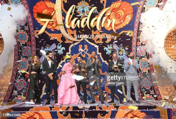 Actors Nasim Pedrad, Marwan Kenzari, Naomi Scott, Mena Massoud, Will Smith, Navid Negahban and Numan Acar attend the World Premiere of Disney's...