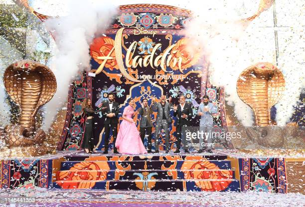 Actors Nasim Pedrad Marwan Kenzari Naomi Scott Mena Massoud Will Smith Navid Negahban and Numan Acar attend the World Premiere of Disney's Aladdin at...
