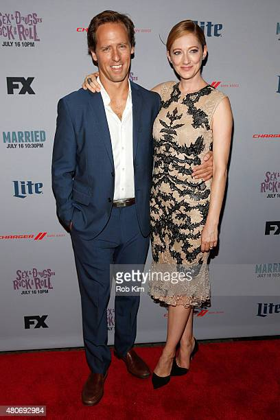 """Actors Nat Faxon and Judy Greer attend the New York Series Premiere of """"Married"""" at the SVA Theater on July 14, 2015 in New York City."""