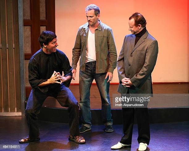 Actors Nat Faxon, Hugh Davidson and Larry Dorf perform onstage at The Groundlings Theatre's celebration of their 40th Anniversary with '2000's Decade...