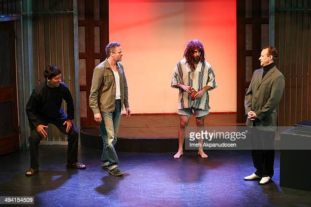 Actors Nat Faxon, Hugh Davidson, Will Forte and Larry Dorf perform onstage at The Groundlings Theatre's celebration of their 40th Anniversary with...