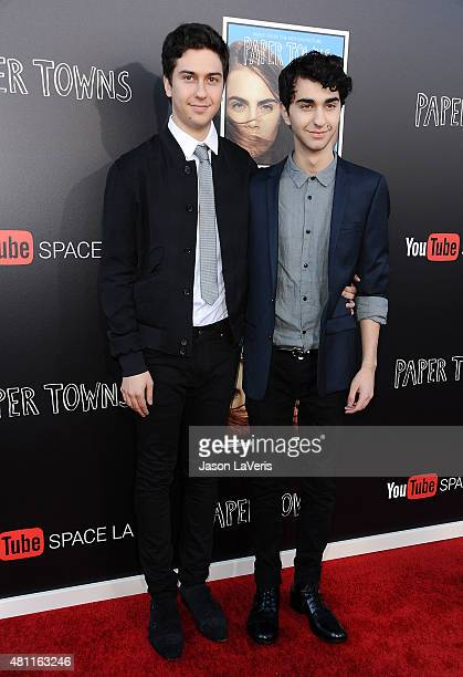 Actors Nat Wolff and Alex Wolff attend the 'Paper Towns' QA and live concert at YouTube Space LA on July 17 2015 in Los Angeles California
