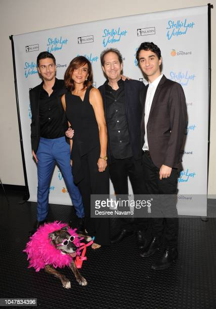 Actors Nat Wolff director Polly Draper composer Michael Wolff and Alex Wolff with their dog Stella attend 'Stella's Last Weekend' New York Premiere...