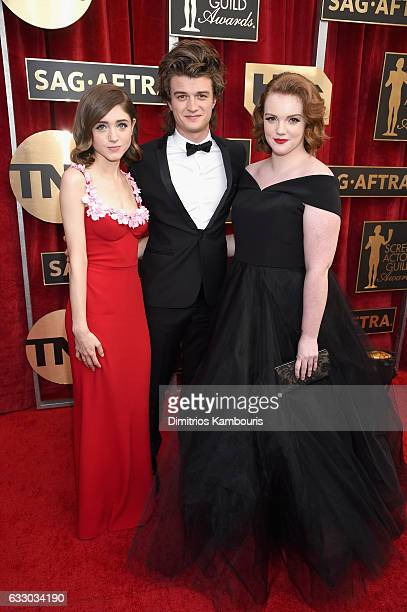 Actors Natalia Dyer Joe Keery and Shannon Purser attend The 23rd Annual Screen Actors Guild Awards at The Shrine Auditorium on January 29 2017 in Los...