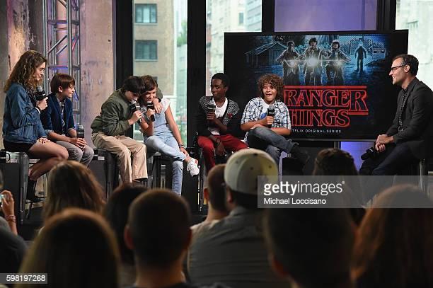 Actors Natalia Dyer Noah Schnapp Finn Wolfhard Millie Bobby Brown Caleb McLaughlin and Gaten Matarazzo of 'Stranger Things' attend the BUILD Series...