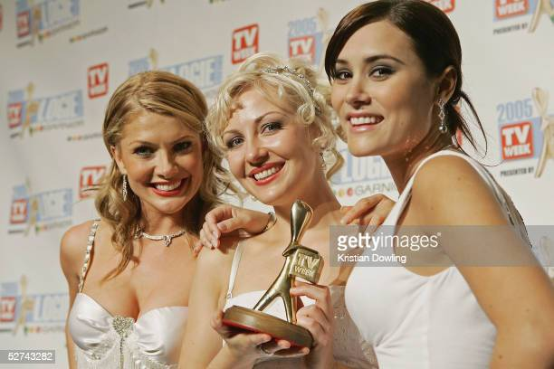 Actors Natalie Bassingthwaighte Marisa Warrington and Natalie Blair pose with their Logie won for Neighbours inclusion to the Hall of Fame at the...