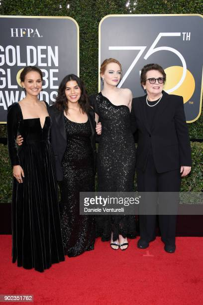 Actors Natalie Portman America Ferrera and Emma Stone and former tennis player Billie Jean King attend The 75th Annual Golden Globe Awards at The...