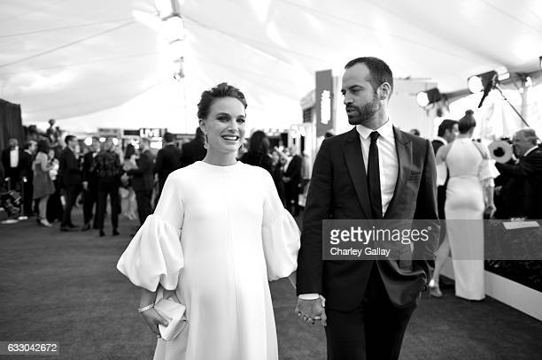 Actors Natalie Portman and choreographer Benjamin Millepied attend The 23rd Annual Screen Actors Guild Awards at The Shrine Auditorium on January 29...