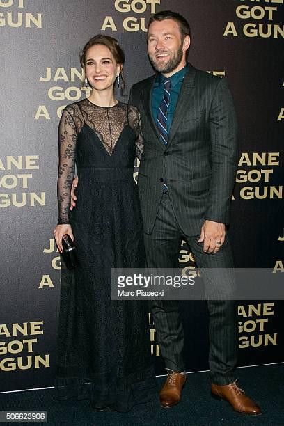 Actors Natalie Portman and Joel Edgerton attend the 'Jane Got A gun' Premiere at Cinema UGC Normandie on January 24 2016 in Paris France