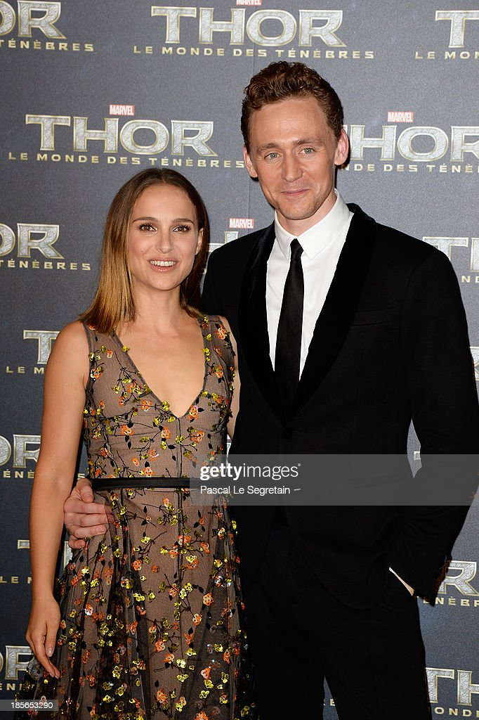 Actors Natalie Portman and Tom Hiddleston attend 'Thor: The Dark World' Premiere at Le Grand Rex on October 23, 2013 in Paris, France.