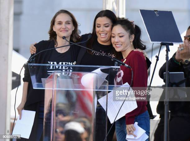 Actors Natalie Portman Eva Longoria and Constance Wu speak during the Women's March Los Angeles 2018 on January 20 2018 in Los Angeles California