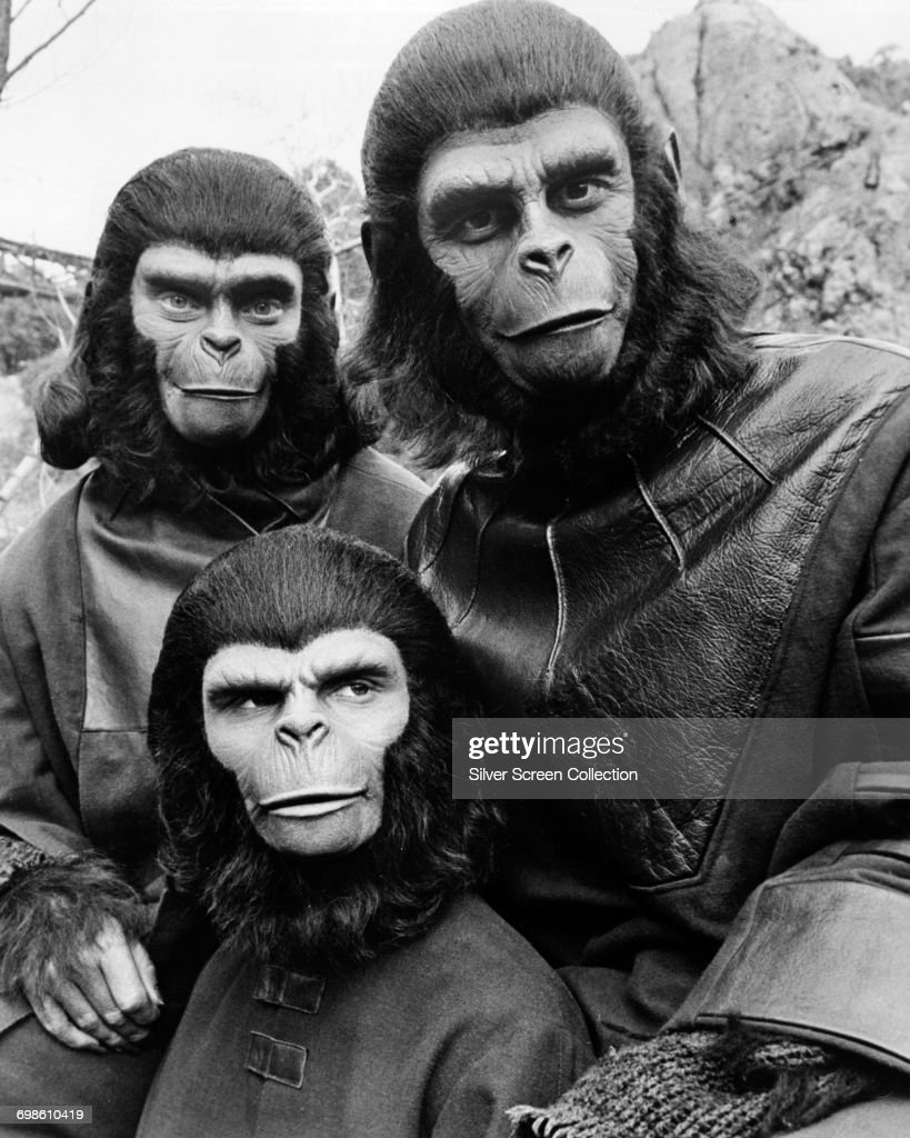 Actors Natalie Trundy (left) and Roddy McDowall (right) as Lisa and Caesar with their on-screen son, played by Bobby Porter on the set of the film 'Battle For The Planet Of The Apes', 1973.