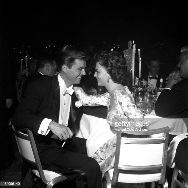 Actors Natalie Wood and Robert Wagner attend an event in 1958 in Los Angeles California