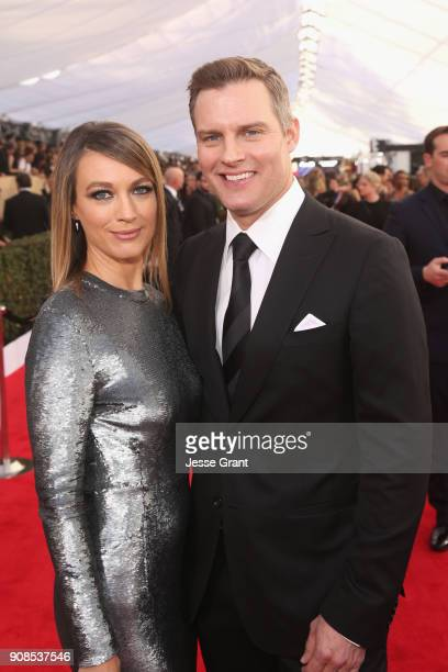 Actors Natalie Zea and Travis Schuldt attend the 24th Annual Screen ActorsGuild Awards at The Shrine Auditorium on January 21 2018 in Los Angeles...