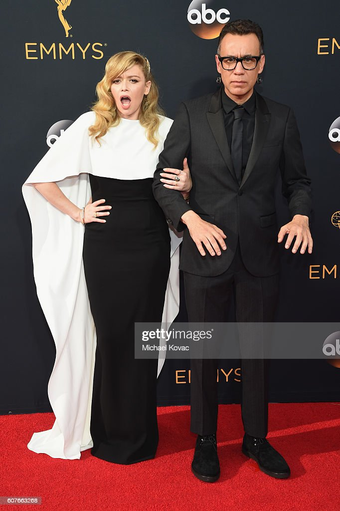 Actors Natasha Lyonne (L) and Fred Armisen attend the 68th Annual Primetime Emmy Awards at Microsoft Theater on September 18, 2016 in Los Angeles, California.