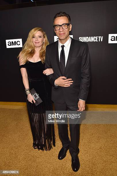 Actors Natasha Lyonne and Fred Armisen attend the AMC BBC America IFC And SundanceTV Emmy After Party at BOA Steakhouse on September 20 2015 in West...