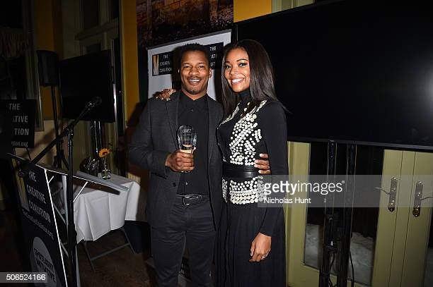 Actors Nate Parker and Gabrielle Union attend the Creative Coalition Spotlight Initiative Awards Gala Dinner at Cisero's Bar on January 23 2016 in...