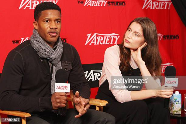 Actors Nate Parker and Laetitia Casta attend day 1 of The Variety Studio at The 2012 Sundance Film Festival at Variety Studio on January 21 2012 in...