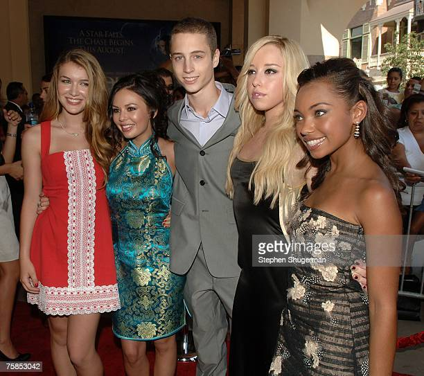 Actors Nathalia Ramos Janel Parrish Chet Hanks Skyler Shaye and Logan Browning attend Lions Gate Films Premiere of Bratz The Movie at Pacific...