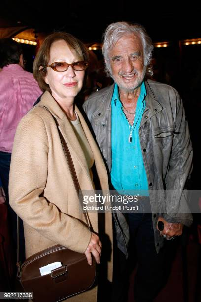 Actors Nathalie Baye and JeanPaul Belmondo attend the La tete dans les etoiles Theater play at Theatre de la Gaite Montparnasse on May 24 2018 in...