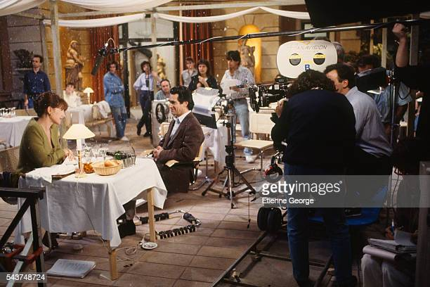 Actors Nathalie Baye and Sami Frey on the set of La Voix directed by Pierre GranierDeferre and based on a short story La Voix written by the French...