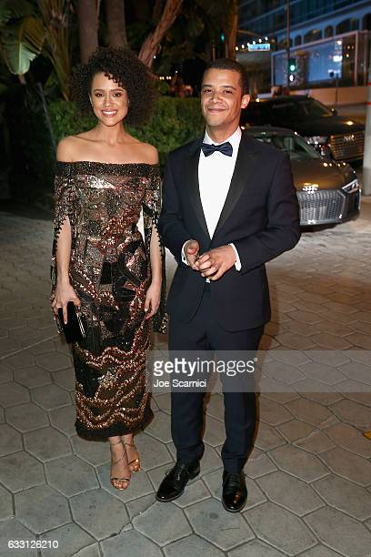 Actors Nathalie Emmanuel and Jacob Anderson attend The Weinstein Company Netflix's SAG 2017 After Party presented by Audi at Sunset Tower Hotel on...