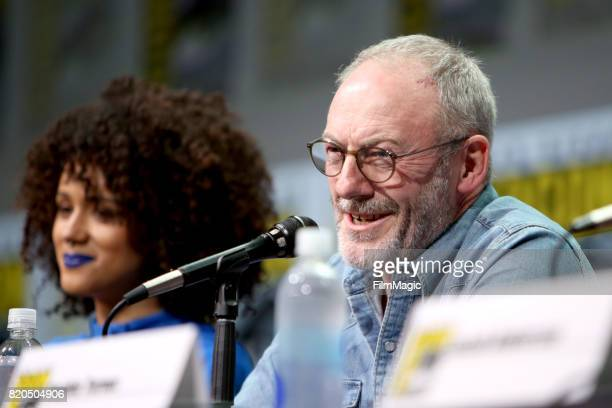 Actors Nathalie Emmanuel and Liam Cunningham speak at the 'Game of Thrones' panel with HBO at San Diego ComicCon International 2017 at San Diego...